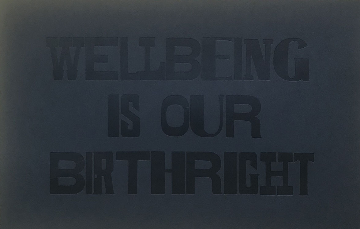 Wellbeing is our birthright letterpress print